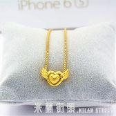 黃金色項錬 歐幣金項錬飾品 女士歐幣首飾仿金天使愛心鎖骨項錬 久不褪色 米蘭街頭