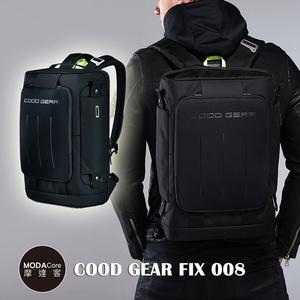 摩達客 韓國COOD GEAR-FIX008金屬都會黑時尚防潑水後背包