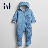 Gap嬰兒 保暖熊耳連帽一體式連身外套 652272-水洗藍