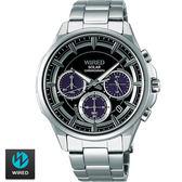WIRED SEIKO副牌 東京潮流設計太陽能三眼鋼帶錶 42mm黑 AGAD070J VR42-0AA0D | 名人鐘錶