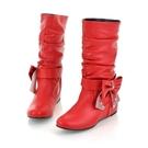 中筒靴 冬季單靴子女春冬中筒靴內增高平底馬丁靴 歐亞時尚