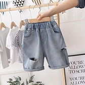 男童牛仔短褲 男童破洞牛仔褲薄款夏裝新款寶寶外穿短褲兒童五分中褲洋氣潮-Ballet朵朵