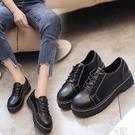 皮鞋 英倫風復古學生鞋2021春秋新款女鞋休閒百搭原宿單鞋黑色小皮鞋潮 【99免運】