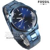 FOSSIL 雅痞風範 都會腕錶 薄型 不銹鋼 藍色電鍍 男錶 中性錶 防水手錶 藍色 FS5461