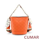 CUMAR  絲巾鍊條2WAY水桶包-橘色