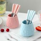 韓式不銹鋼長柄水果叉子套裝可愛水果簽點心小叉甜品月餅叉子陶瓷 黛尼時尚精品
