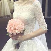婚紗禮服新款2018韓版一字肩長袖拖尾蕾絲修身大碼顯瘦齊地婚紗春