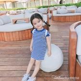 兒童節禮物小女童連身裙洋裝夏裝新款嬰兒童洋氣T恤裙子寶寶純棉洋氣短袖裙 阿卡娜