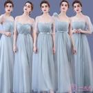 洋裝伴娘禮服女韓版長款一字肩網紗姐妹團裙結婚宴會婚禮綁帶大碼