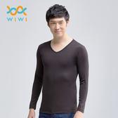 【WIWI】MIT溫灸刷毛V領發熱衣(經典黑 男S-3XL)