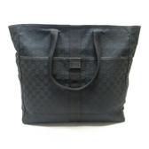 GUCCI 古馳 黑色帆布肩背包 GG Canvas Travel Bag 90481【二手名牌BRAND OFF】