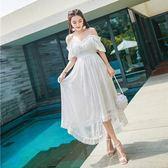 洋裝-細肩帶露肩白色蕾絲中長款女連身裙73pu92[巴黎精品]