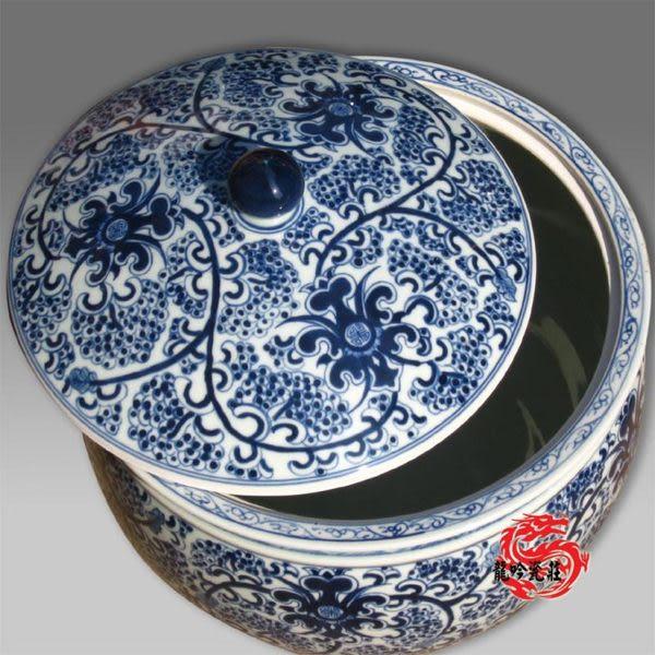 手繪 青花瓷觀賞型蓋缸水缸米缸