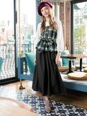 秋冬單一價[H2O]針織拼接格子布腰部鬆緊綁帶上衣 - 黑咖格/白綠格色 #8655020