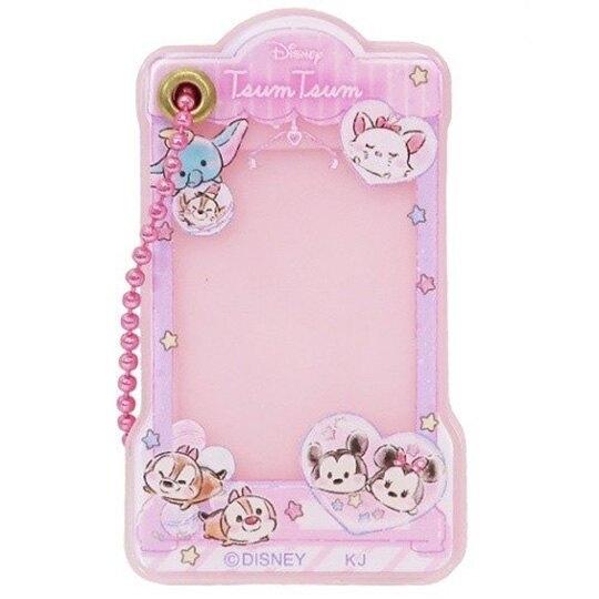 小禮堂 迪士尼 TsumTsum 造型壓克力相片吊飾 相框鑰匙圈 相框吊飾 (粉 夾娃娃) 4935124-52087