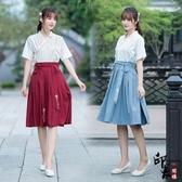 漢服古裝原創佛系少女日常改良漢服古風學生班服中國風漢元素交領短裙 降價兩天