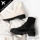 韓國空運 時尚精品大U款 襪套拼接質感皮革 好穿穩固粗跟短靴【F713058】2色 版型偏小/SD韓美鞋