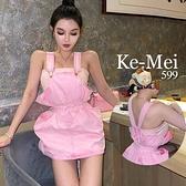 克妹Ke-Mei【AT67845】woppei少女粉收腰花苞牛仔吊帶裙附腰帶