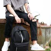 後背包反光條黑初中高中學生旅行後背包休閒電腦背包書包男時尚潮流