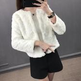 店長推薦 珍妮菲爾曼仿獺兔毛女短外套2018仿皮草外套女短款長袖冬裝