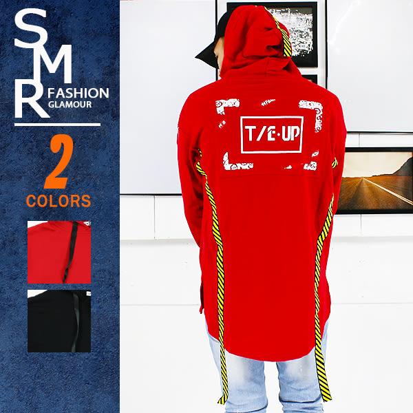 帽T-前短後長織帶帽T-街潮保暖首選款《9997V355》紅色.黑色【現貨+預購】『SMR』