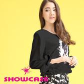 【SHOWCASE】女王鑽雪紡長袖上衣/T恤(黑)