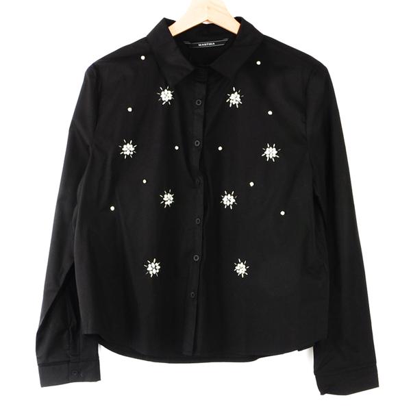 【MASTINA】寶石造型襯衫-黑  冬末好康