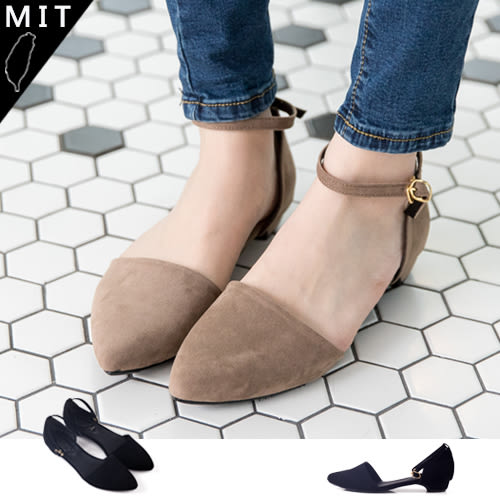 女款 韓國環帶釦式繞踝絨布低跟 尖頭包鞋 59鞋廊