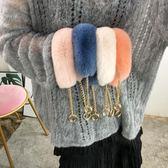 獺兔毛包包背帶單肩手提鏈條配件包帶女毛毛斜跨替換帶皮草寬肩帶 交換禮物