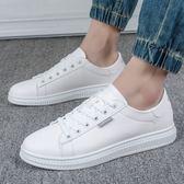 售完即止-帆布鞋新品小白鞋男正韓潮流運動休閒板鞋男生白鞋平底白色鞋10-19(庫存清出T)