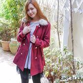 質感大衣外套--貴族時尚可拆式皮草雙排釦大衣(灰.紅2L-5L)-J104眼圈熊中大尺碼