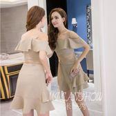 ✎﹏₯㎕ 米蘭shoe  一字肩連衣裙夏裝新款裝性感露背修身格子荷葉邊包臀吊帶裙