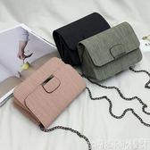 韓國ulzzang鍊條小包包女2019新款潮車縫線側背斜背復古小方包 【四月新品】
