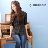 襯衫--俐落的時尚-抓皺設計素面款長袖襯衫(白.黑.黃S-3L)-I49眼圈熊中大尺碼