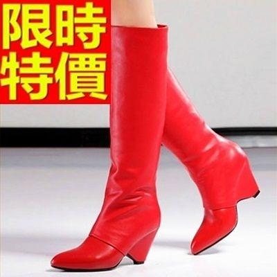 長靴-好搭隨性真皮尖頭中高跟時尚過膝女馬靴2色64e45【巴黎精品】