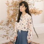 2019早春裝新款雪紡襯衫女甜美小清新碎花設計感小眾學生長袖上衣