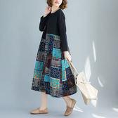 棉麻 下襬拼接仿拼布印花洋裝 獨具衣格