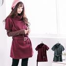 舒適保暖   日系高領排釦造型保暖皮帶洋裝(共 2色)onlyyou 中大尺碼 MIT台灣製 A5038
