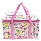 〔小禮堂〕Hello Kitty 立體方型手提保溫保冷袋《L.粉.萊姆》野餐袋.便當袋.手提袋 4713218-89301