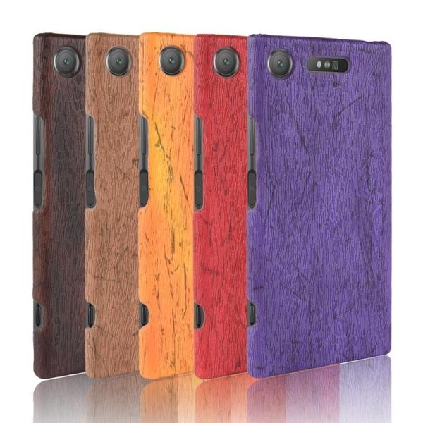 適用于索尼Xperia XZ1復古木紋手機殼硬殼G8342磨砂半包保護殼男