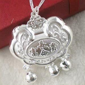 925銀飾品 兒童寶寶長命富貴鎖項鏈 Y10709