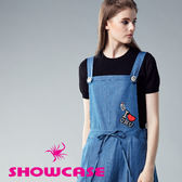 【SHOWCASE】休閒風笑臉寬版吊帶牛仔裙(藍)