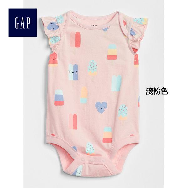 Gap女嬰兒 可愛印花蝴蝶袖包屁衣 319476-淺粉色