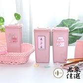 可愛迷你筆筒粉色帶蓋桌面垃圾桶裝飾擺件收納桶【君來佳選】
