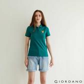 【GIORDANO】女裝麋鹿漸層刺繡短袖POLO衫 - 61 水塘綠