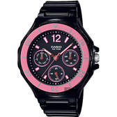 CASIO 卡西歐 迷你運動風日曆女錶-粉紅圈x黑 LRW-250H-1A2 / LRW-250H-1A2VDF