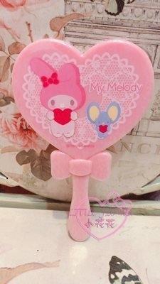 小花花日本精品美樂蒂粉色蝴蝶結心型造型手拿鏡體積小好收納外出攜帶方便56944105