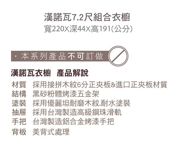 【森可家居】漢諾瓦7.2尺組合衣櫥 (編號1.2.4) 8CM574-3 衣櫃 開放式 衣架 LOFT復古工業風