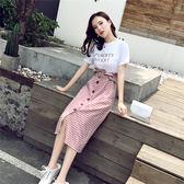 精選38折 韓國學院風學生字母印花拼接格子假兩件短袖洋裝