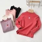 中大童上衣 可愛草莓公主卷邊半高領 女童彈力打底衫中大童純棉長袖T恤 童裝 夢藝